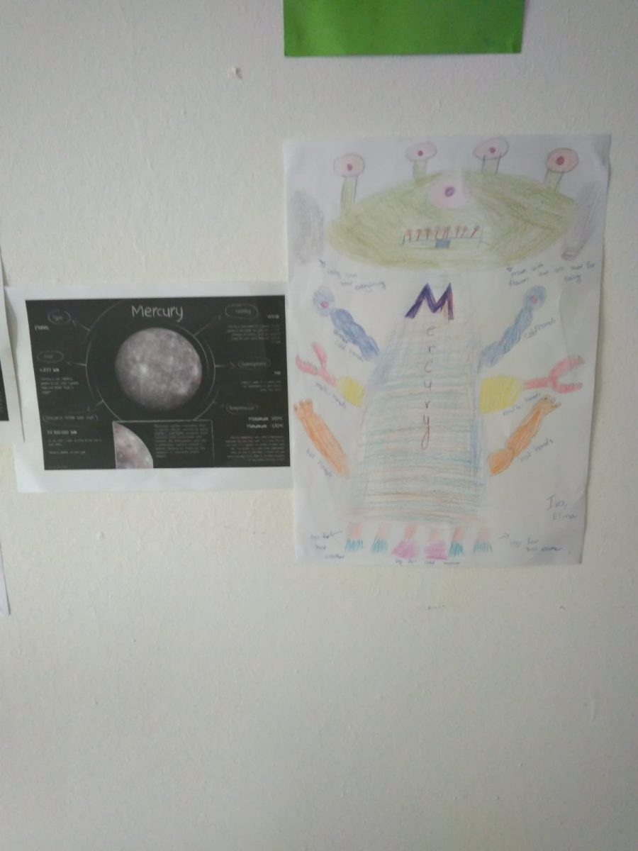 Z camp, day 12 - English class, Space theme - drawings of planets glued to a wall