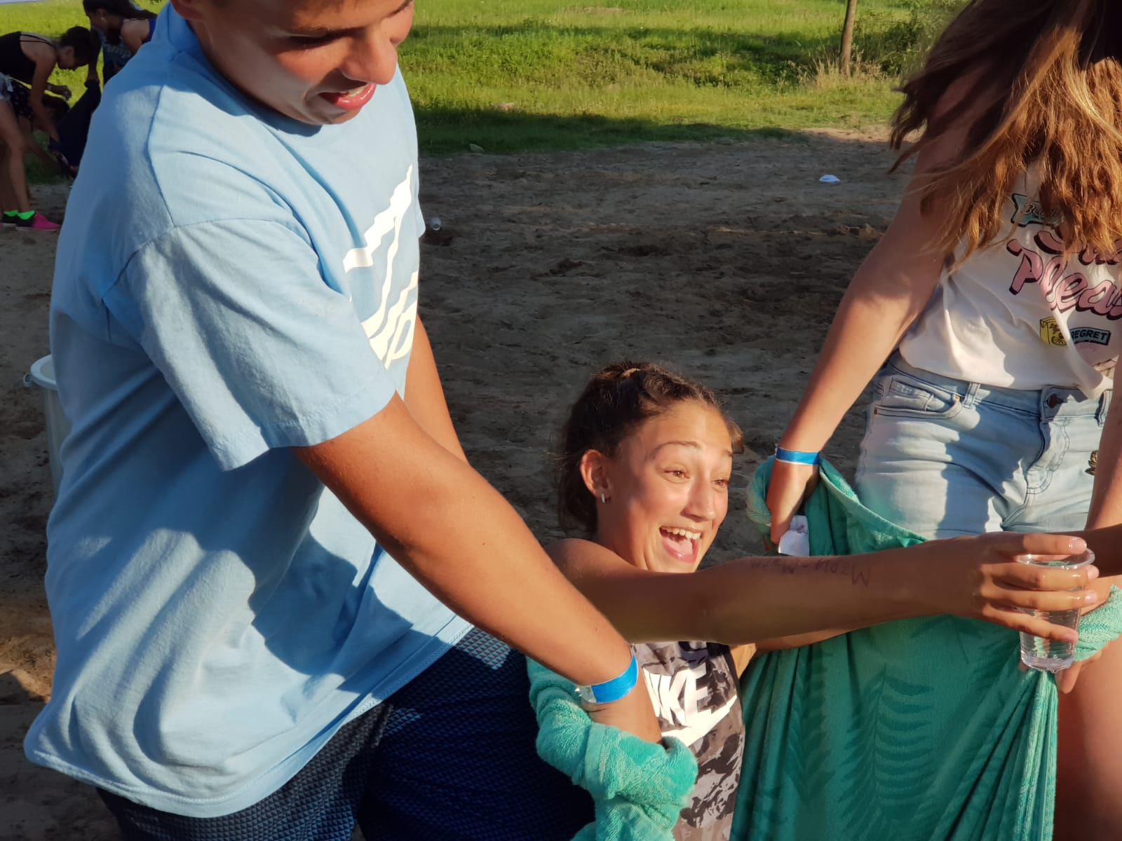 Z camp, day 12 - Afternoon Games - carrying a kid in a blanket - funny situation