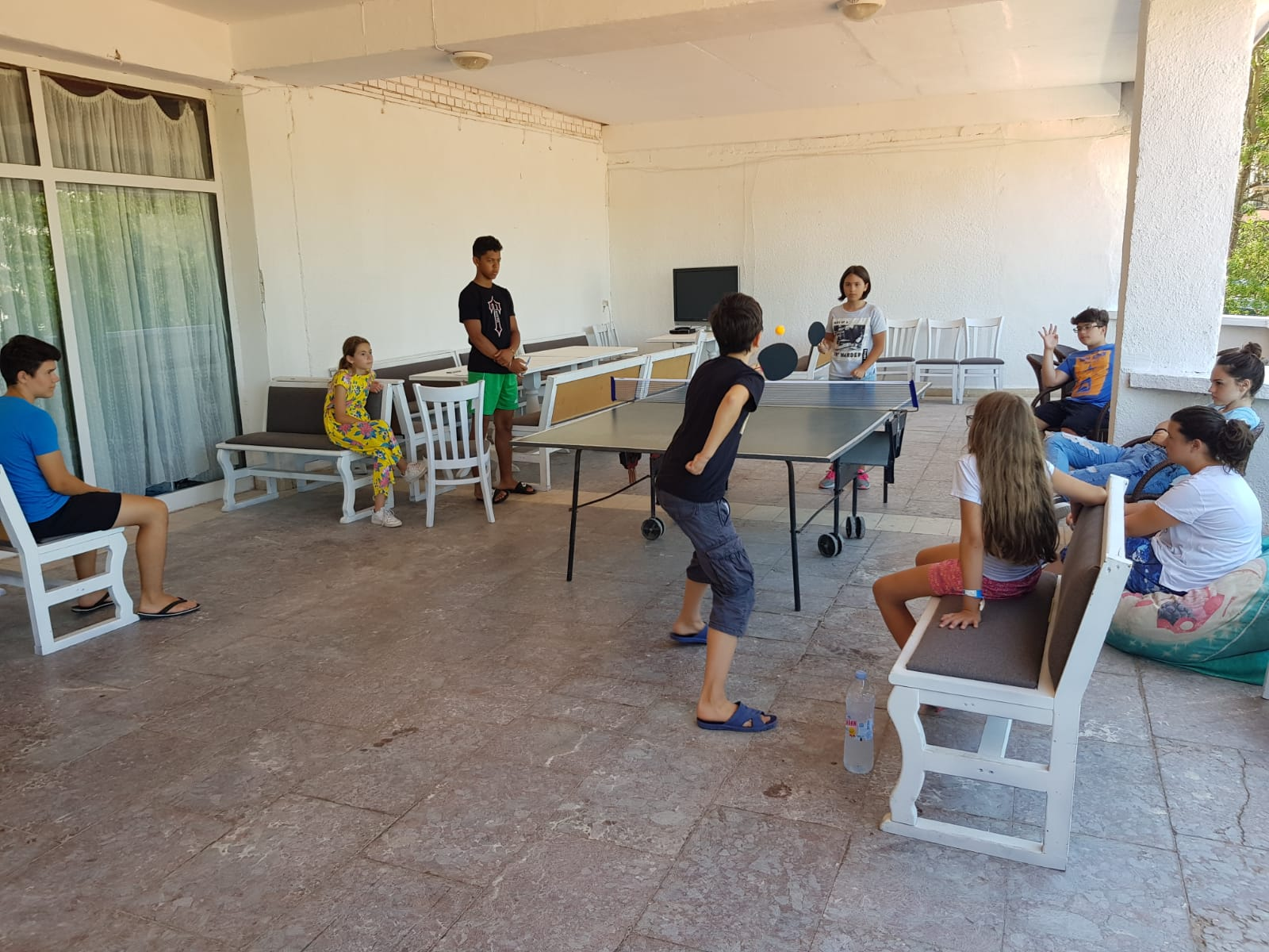 Z camp, day 7 - children play table tennis