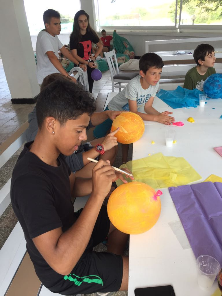 Z camp, day 8 - Arts & crafts, children create planets