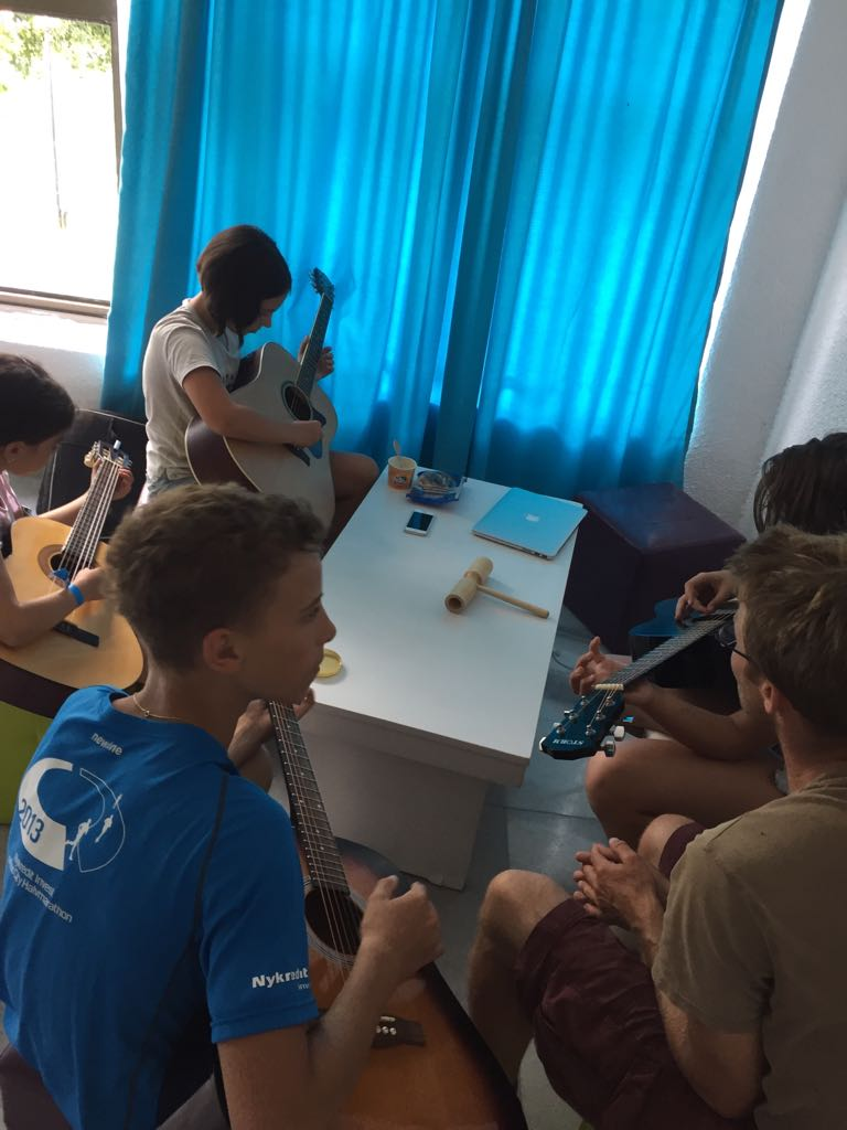 Z camp, day 8 - Musical workshop, children play musical instruments