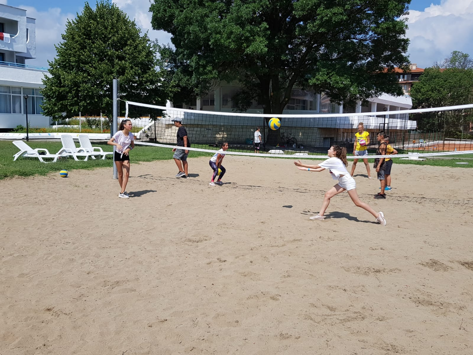 Z camp, day 14 - beach volleyball game in the camp yard