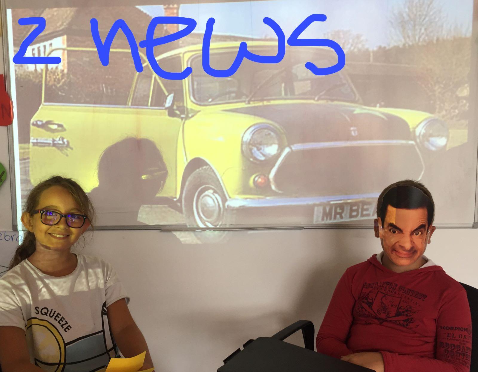 езиков детски лагер на морето Z кемп, Ден 21 - Z новини - момче с лице на Мистър Бийн и момиче до него