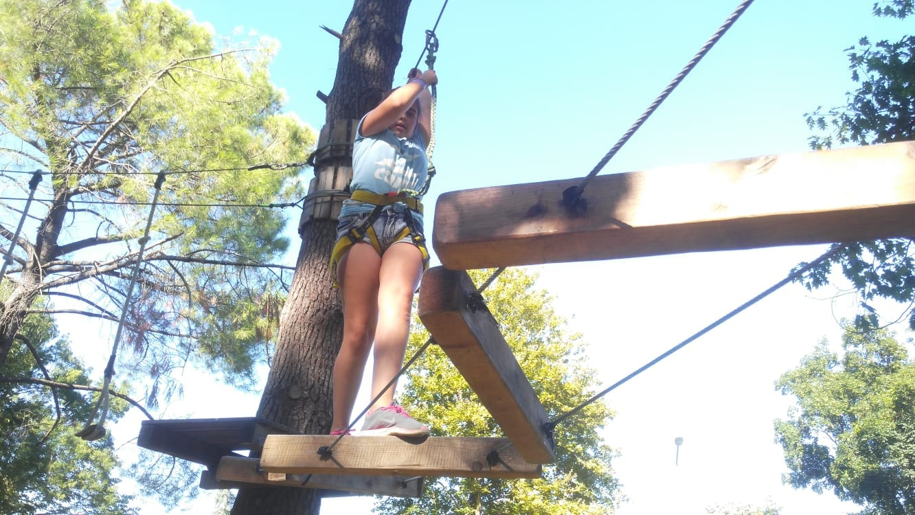 Language Camp for kids Bulgarian Seaside Z camp, Day 21 - X-Challenge adventure park - girl walking on a rope