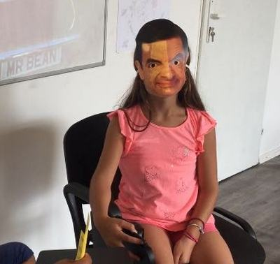 summer language camps for kids Z camp, Day 22 - Z news - a girl with Mr. Bean's face