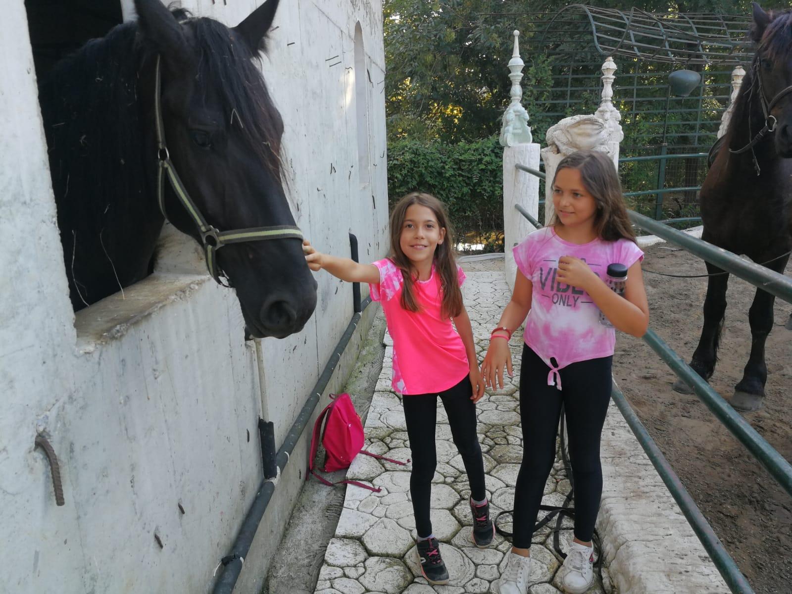 езиков лагер за деца Z кемп, Ден 23 - конна езда - две момиченца галят кон