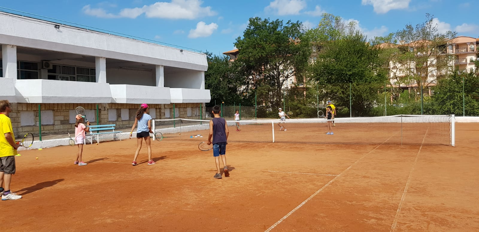 language vacations for kids at Bulgarian seaside Z camp, Day 27 - tennis court - six children are trained