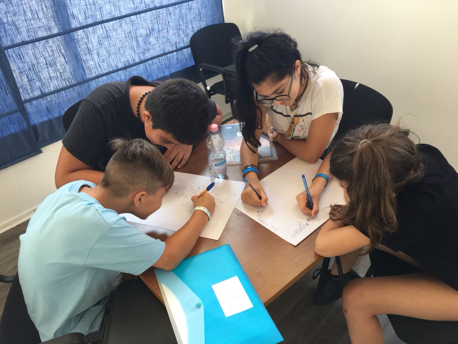 Z camp, Day 18 - English class - another group of children write song lyrics