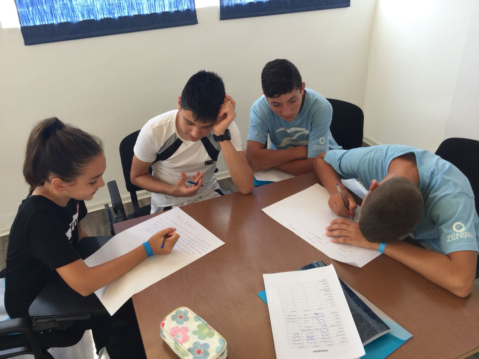 Z camp, Day 18 - English class - group of children write song lyrics