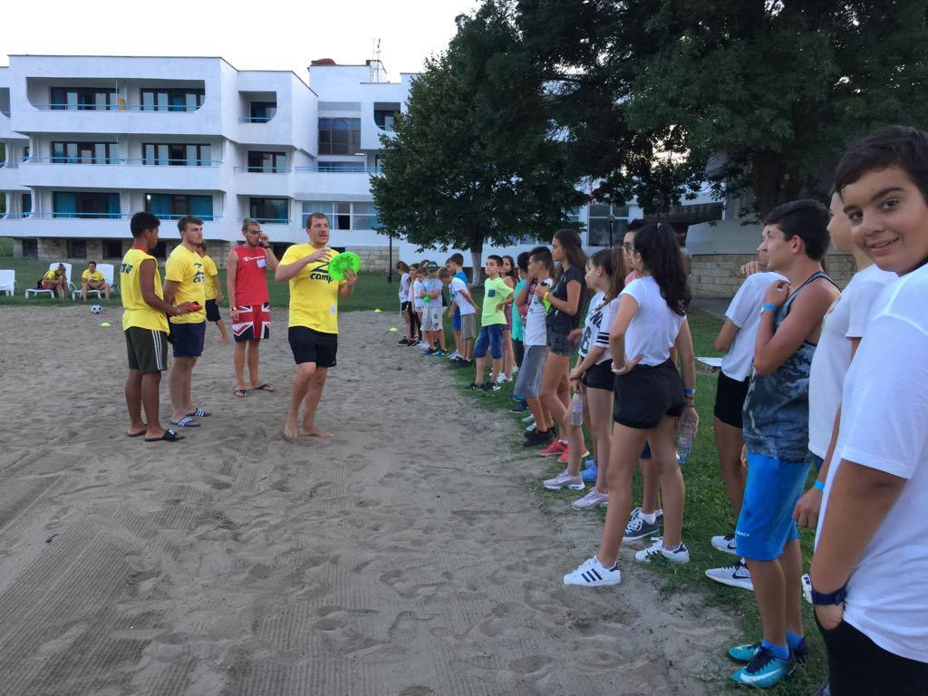 Z camp, Day 18 - Frisbee game - an English teacher explains the rules to the kids