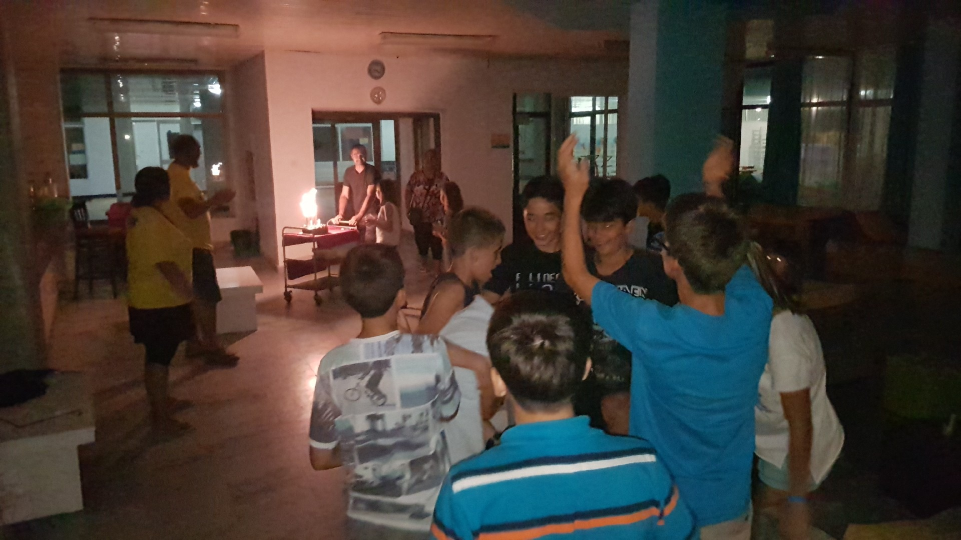 summer language camps in Bulgaria Z camp, Day 34 - birthday - the cake candles are lit
